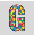 Color Puzzle Piece Jigsaw Letter - G vector image vector image