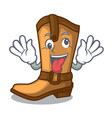 crazy leather cowboy boots shape cartoon funny vector image vector image