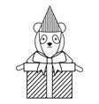 cute bear panda with gifts boxes in birthday party vector image vector image