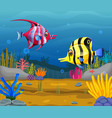 cute fish cartoon in the sea vector image vector image