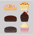 donuts and muffins set vector image vector image