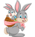 easter bunny carrying basket of baby rabbit