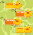 Four cute cartoon Ducks stickers vector image vector image