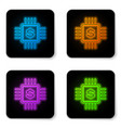 glowing neon processor chip with dollar icon vector image vector image
