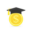 graduation cap with coin vector image vector image