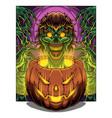 halloween pumpkin mascot logo with zombie head vector image vector image