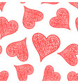 hand drawn heart icon seamless pattern background vector image vector image