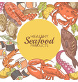 hand drawn seafood design with fish crab vector image vector image