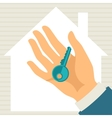 hand holding key in flat design style vector image