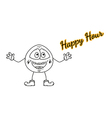 happy hour with emoticon vector image vector image