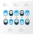 hardware icons colored set with start button cpu vector image