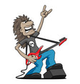 heavy metal rock guitarist cartoon vector image vector image