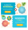 hello summer time banner horizontal set vector image vector image