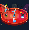 isometric circus performance rehearsal template vector image
