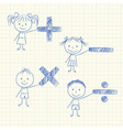 Kids with mathematical signs vector image