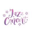 lettering of jazz concert in pink purple with vector image
