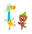 little giraffe and bear characters ice skating vector image vector image