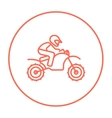 Man riding motocross bike line icon vector image
