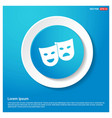 mask icon abstract blue web sticker button vector image