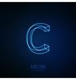 Neon 3D letter C vector image vector image
