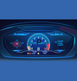 neon sport car supercar dashboard with speedometer vector image vector image