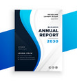 nice wavy blue annual report business brochure vector image vector image