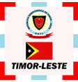 official ensigns flag and coat of arm of timor vector image vector image