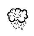 painted cartoon rain cloud vector image vector image