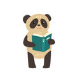 panda bear reading a book cute animal cartoon vector image vector image