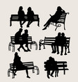 people sit in the garden silhouettes vector image vector image