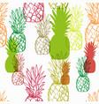 pineapple juicy fruit seamless bright pattern vector image