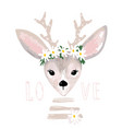 poster with a cute deer with a wreath daisies vector image