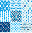 rain drops and umbrellas seamless patterns set vector image
