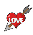 Red heart and arrow of Cupid Emblem for vector image vector image