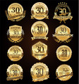 retro vintage anniversary golden badges and vector image vector image