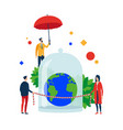 safe earth people preserve and protect the globe vector image