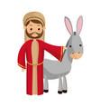 saint joseph with donkey manger cartoon vector image vector image
