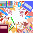 school supplies on a white background vector image vector image