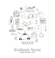 set doodle sketch business icons vector image