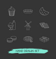 set of bakery icons line style symbols with pizza vector image