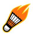 sport ball fire badminton vector image vector image