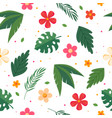 summer pattern with leaves and flowers vector image vector image