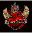 tattoo chicano heart with flames color version vector image