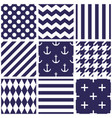 tile navy blue and white pattern set with dots vector image