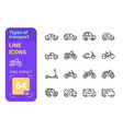 types transport line icons set vector image vector image
