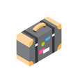 vintage suitcase with stickers icon isometric vector image