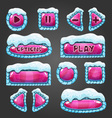 Winter cartoon dark pink buttons with snow vector image vector image