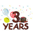 third year happy birthday postcard vector image