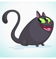 a cute smiling black cat cartoon vector image vector image