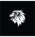 angry roaring lion head black and white logo vector image vector image